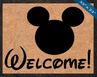 Welcome! Mickey Mouse Silhouette! Custom Disney DoorMats, Great for a Wedding, Anniversary, Birthdays, Housewarming, or Graduation Present!