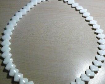 """1950 TRIFARI White Lucite Overlay Diamonds Necklace 20"""""""