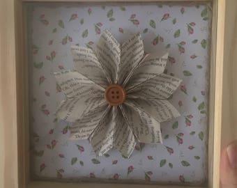 Framed book page paper flower