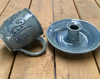 Cup with candle holder as set, ceramics.