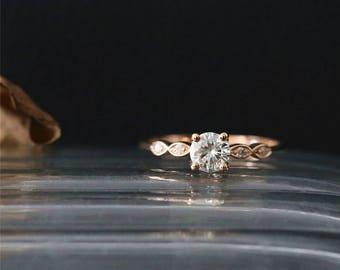 For Tate Charles&Colvard Moissanite Engagement Ring 5mm Round Cut Forever Brilliant Moissanite Ring Art Deco Ring Vintage Bridal Ring