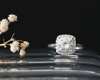 C&C Brilliant Ring 7mm Cushion Cut Forever Classic Moissanite Engagement Ring 14k White Gold Moissanite Ring Plain Stackable Bridal Ring