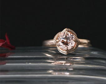 Floral Halo Ring Natural 6.5mm Round Cut Peach Morganite Engagement Ring 14K Rose Gold Morganite Ring Bridal Ring Stackable Anniversay Ring