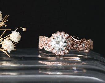 Vintage Floral Halo Ring C&C 6mm Round Cut Forever One Moissanite Engagement Ring Leaf Ring 14K Rose Gold Brilliant Ring Bridal Ring