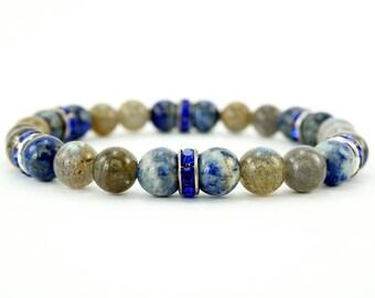 Lapis Lazuli Labradorite Beaded Bracelet with Rhinestone Accents
