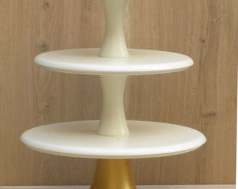 3 Tier Cupcake Stand 12/14/16 Solid Ivory and Gold Wedding Cupcake stand Tiered Wooden Ivory Gold Cupcake stand Large Wedding Cupcake stand