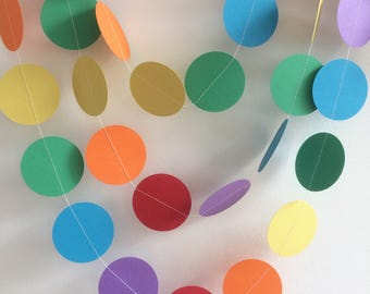 Rainbow Circle Garland, Party Decor, Celebrations, Baby Shower,