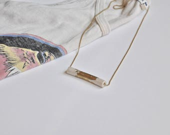 The Crossbar Necklace in Pearl / Gold Leaf / Unique Statement Piece