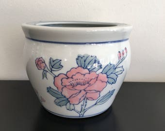 Vintage, Oriental Planter, Ceramic Plant Pot, Oriental Decor, Jardiniere, Chinese Planter,Chinese Pot,Asian Interior,Asian,Fish Bowl Planter