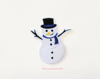 1x SNOWMAN blue scarf Patch Iron On Embroidered X'mas Christmas Seasons Greeting red white holidays decorations present winter DIY project
