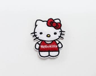 Patch HELLO KITTY cute Kawaii kittens manga funny cat red bow white Iron On Embroidered Applique DIY costume kid cosplay fun