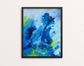 Paradise - original abstract art, modern painting, blue artwork, modern art