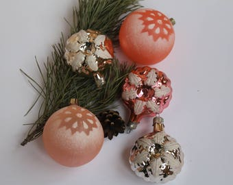 Snow-covered balls,Christmas Tree Ornaments,Collectible USSR Glass Toys,Christmas decorations,Christmas ornaments 23