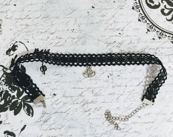 Black lace neck chokers with charm