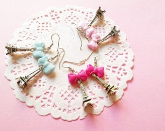 Eiffel Tower earrings polymer clay bow, France, Paris, earrings earrings earrings pink blue
