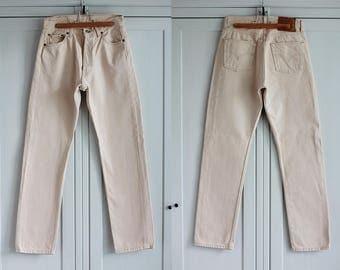 Levi's 501 Jeans Vintage High Waisted Denim Trousers Classic Fit Beige Color Unisex Men Women Clothing High Fashion / W30 L32 / Medium size