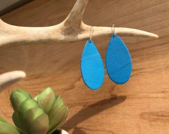 Azure Blue Leather Teardrop Earrings