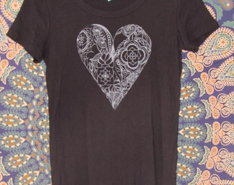 Heart Womens Tee in Black - Graphic Tee - Screen Printed Designs with Eco-Friendly Ink - 100% Cotton