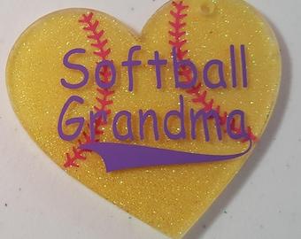 Acrylic heart glitter softball keychain