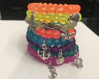 Summer Neon Frosted Beaded Bracelets with Charms or Plain