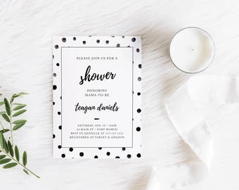 Classic Black and White Shower Invitation - Digital File Only