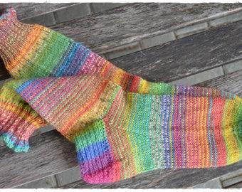 "Happy Rainbow ∞ Socks  women's size UK 4,5-6, US 7-8  ""HappyScrappyStile"", hand knitted"