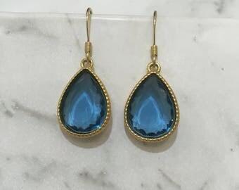 Dangle Teardrop Earrings Blue