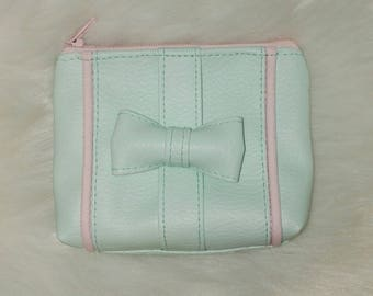 purse faux leather bow and pink piping