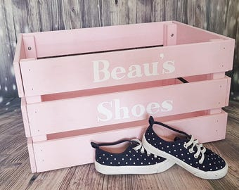 Shoe storage box, shoe crate, clothes organiser, wooden box, wooden crate, birthday gift