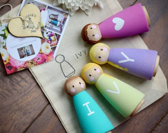 Kids easter gift etsy valentines gift for kids easter gifts name peg dolls toy name toy negle Image collections