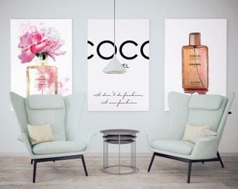 3 fashion posters Coco Chanel. Designer print set - Coco Chanel perfume bottle, Chanel quotes. Fashion print - Coco Chanel. Free shipping.