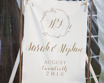 Wedding Banner Sign Rose Gold Vinyl Personalized Names and Date