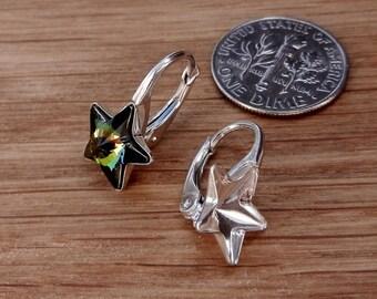 Luxury, Sterling Silver, Lever Back, ear, earwires, Earrings, Findings, for, Swarovski Crystals, 4745, Star, 10mm