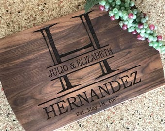Block Initial Laser Engraved personalized Cutting board Housewarming Kitchen Wedding Anniversary Custom