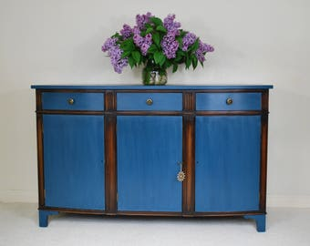 SOLD Mahogany Sideboard Shabby Chic Annie Sloan Aubusson Blue Waxed