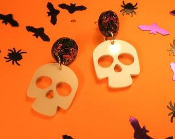 Skull laser cut acrylic earrings