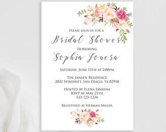 Bridal shower, Bridal Shower Invite, Invitation Bridal Shower, Floral Bridal Watercolor, Floral Bridal Shower,Download invite, Edit yourself