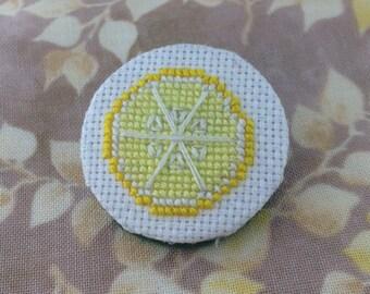 "Tiny Lemon 1"" embroidered pin"