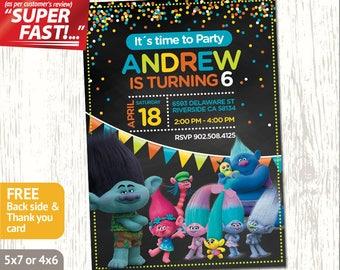 TROLLS BIRTHDAY INVITATION Boy, Trolls Invitation, Trolls Party Invitation, Trolls Invite, Trolls Card, Trolls Poppy, Trolls Branch, v1b