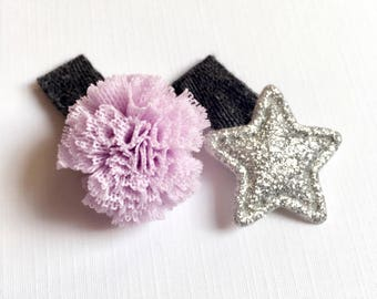 Baby hair clips, newborn hair clips, toddler hair clips, No slip hair clips, hair clips, baby hair bows, pom pom hair clip