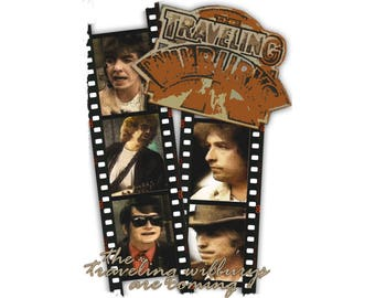 T-SHIRT: Traveling Wilburys / With Care - Classic T-Shirt & Ladies Fitted Tee - (LazyCarrot)
