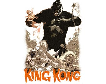 T-SHIRT: King Kong / Escape From Skull Island - Classic T-Shirt & Ladies Fitted Tee - (LazyCarrot)