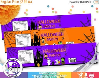 ON SALE Halloween Water Bottle Label, Halloween Party Decorations, Trick or Treat, Costume, INSTANT Download