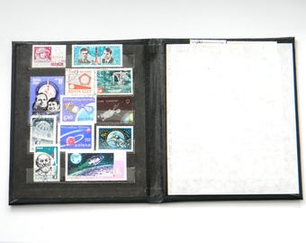 Vintage Album with Postal Stamps of the USSR-Soviet Postage Stamp Collecting Album-Vintage Stamp Book-set of 24 Soviet space theme stamps
