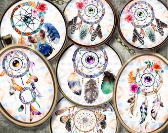 DREAMCATCHER ID 1 Digital Collage Sheet Printable Instant Download for art jewelry scrapbooking bottle caps magnets pins