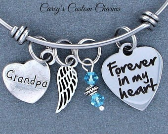 Grandpa Memorial Keepsake Charm Bracelet, Swarovski Birthstone, Sympathy Gift, Forever In My Heart, Angel Wing, Stainless Steel, Grandfather