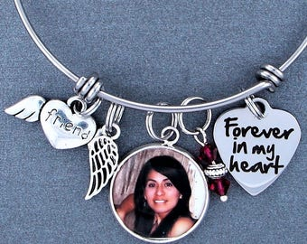 Friend Memorial Keepsake Photo Charm Bracelet, Swarovski Birthstone, Sympathy Gift, Forever In My Heart, Angel Wing, Custom Picture Charm