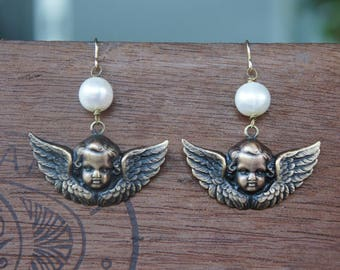 Winged Cherub Earrings with Creamy Pearls French Brass French Findings Stampings Wedding Bride