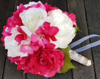 Bridal bouquet, hot pink and white bouquet, bouquet hot pink and ivory, ivory, pink bouquet, hot pink bouquet, bouquet and boutonniere, pink