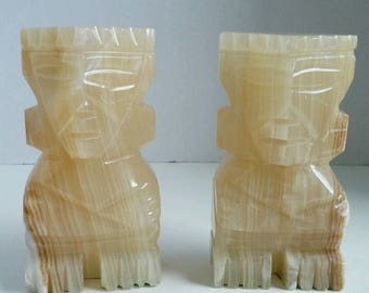 1970s Hand Carved Onyx Aztec Totem God Bookends